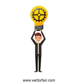 businessman with bulb avatar character icon