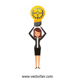businesswoman with bulb avatar character icon