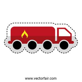 tanker truck with flame
