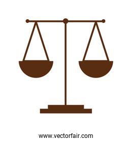 scale justice of brown color isolated icon