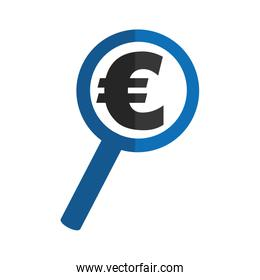 magnifying glass with euro symbol
