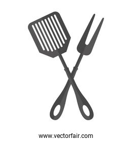 spatula and fork kitchen cutlery isolated icon
