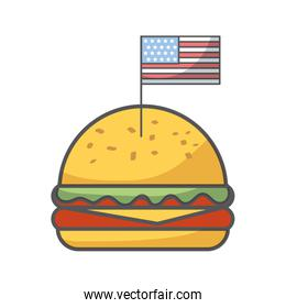 delicious burger fast food isolated icon