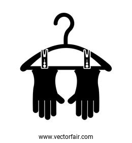 Drying hook with gloves laundry icon