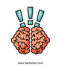 storm brain with exclamation mark isolated icon