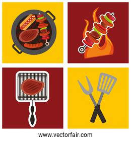 barbecue celebration concept icons