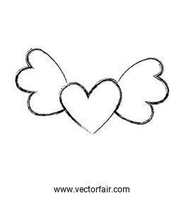 heart love with wings