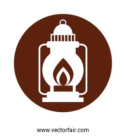 camping lantern isolated icon