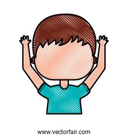 cute little boy with hands up character