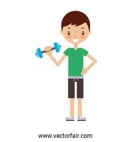 boy exercising with dumbells