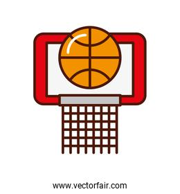 brightly basket ball in the hoop cartoon vector graphic design