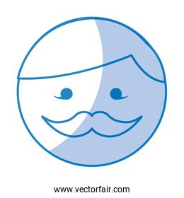 shadow round moustache man face cartoon