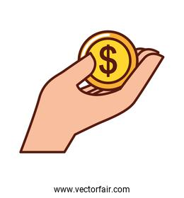 hand human with coin money dollar icon