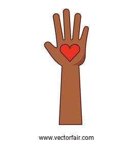 hand human with heart