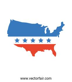 united states of maerica map with flag