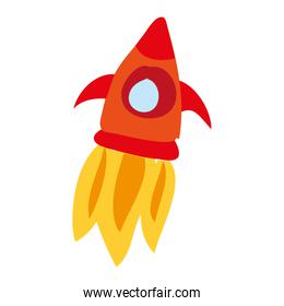rocket flying drawing icon