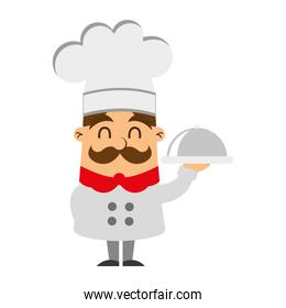 funny chef with tray avatar character