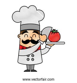 funny chef with tomato avatar character