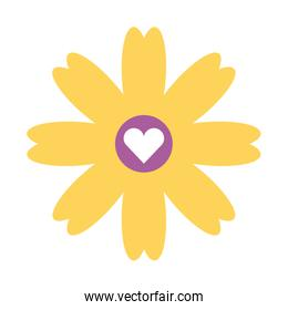 cute flower with heart isolated icon