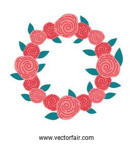 wreath with roses decorative icon