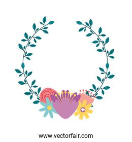 wreath with flowers decorative icon