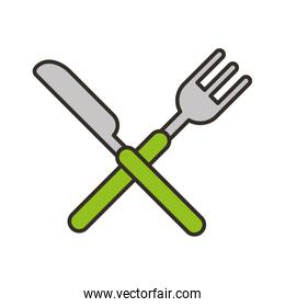 knife and fork cutlery isolated icon