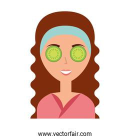 cute woman with cucumber mask