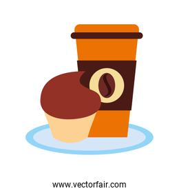 delicious coffee with cupcake