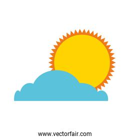 summer sun with cloud isolated icon
