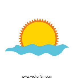 summer sun with sea isolated icon