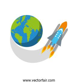 rocket space with planet earth