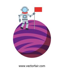 astronaut with flag comic character icon
