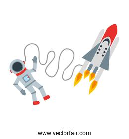 astronaut with rocket comic character icon