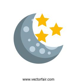 Natural satellite moon with stars