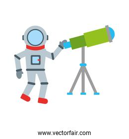 astronaut with telescope comic character icon