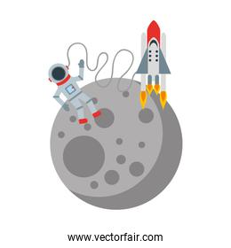 astronaut in the moon comic character icon