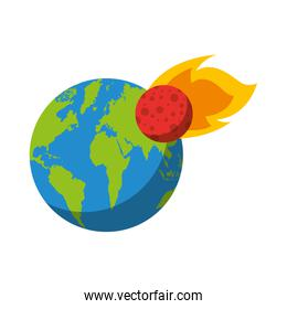 world planet earth with meteorite