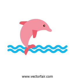 cute dolphin isolated icon