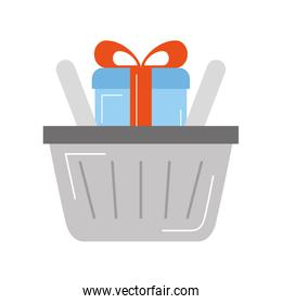 basket shopping with gift isolated icon