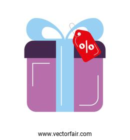 giftbox present with percent tag