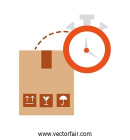 box carton with chronometer watch isolated icon