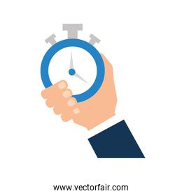 hand human with chronometer watch isolated icon