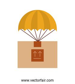 box carton with parachute delivery icon