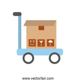 cart with box carton delivery icon