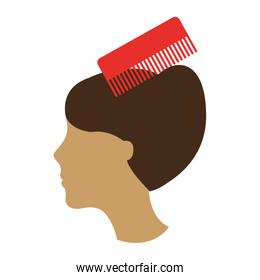 barbershop comb with female hair