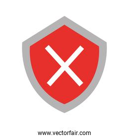 security shield with x symbol