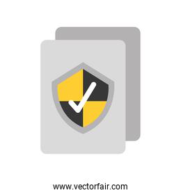 document with security shield isolated icon