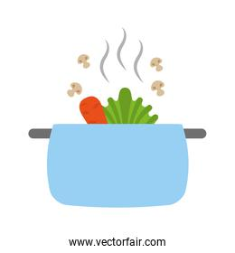 isolated kitchen pot with vegetables