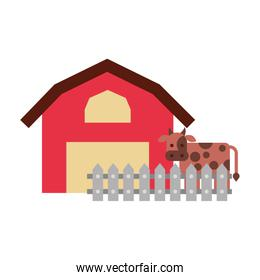 farm stable building with cow