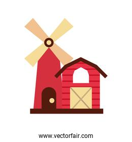 farm stable building with windmill